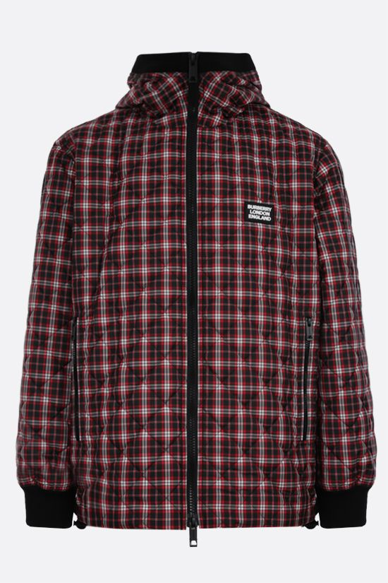 BURBERRY: check nylon quilted jacket Color Red_1