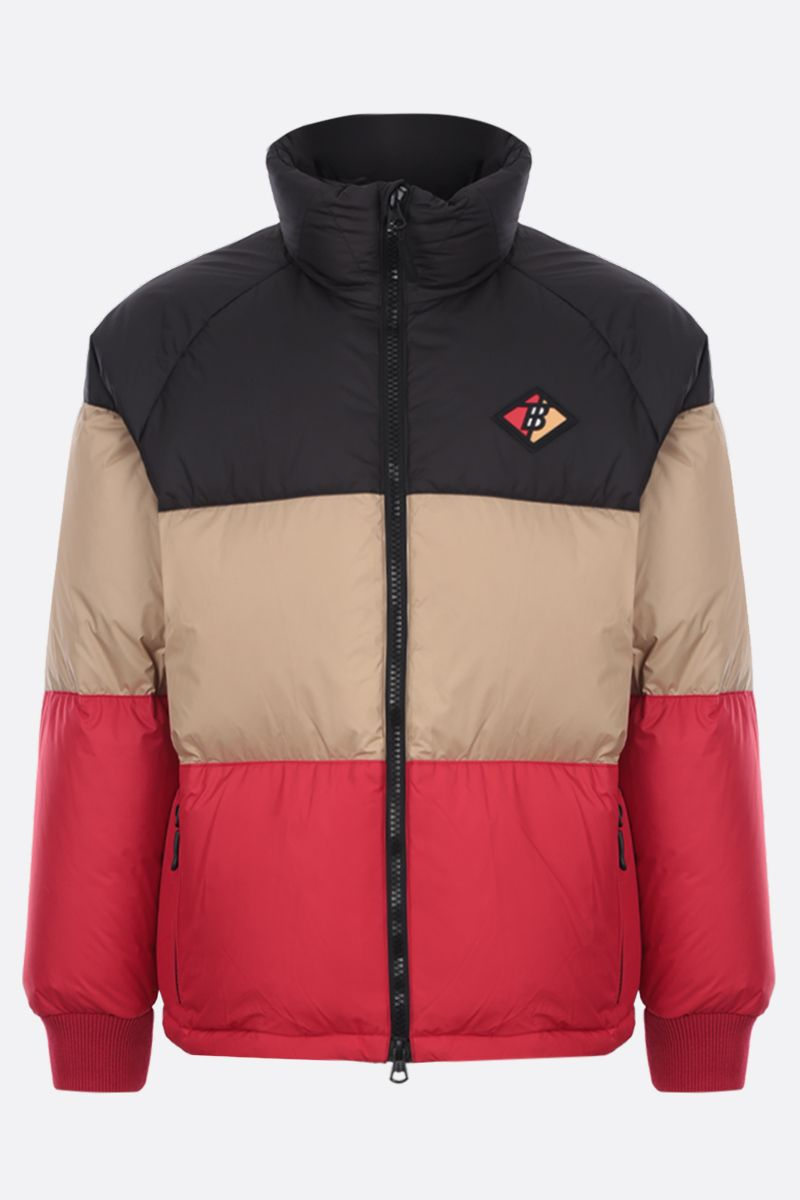 BURBERRY: Branston down jacket in colour-block nylon Color Black_1