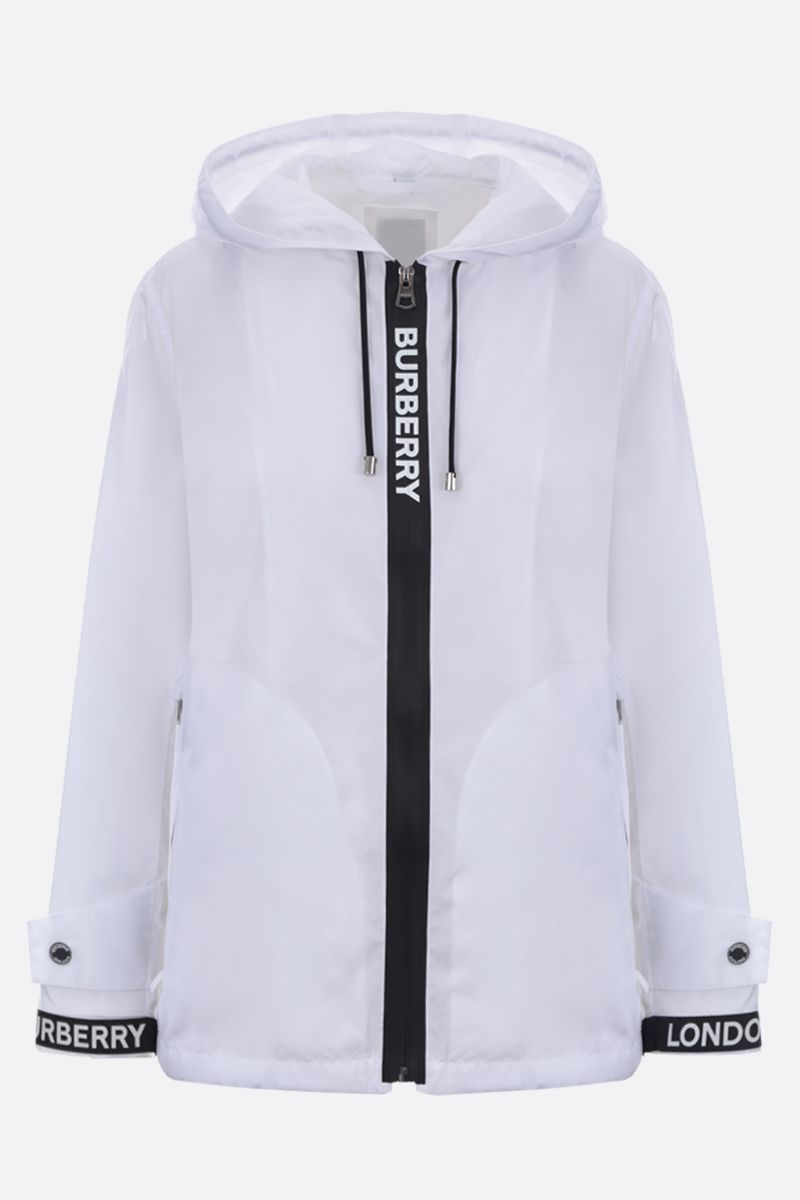 BURBERRY: logo tape ECONYL® windbreaker Color White