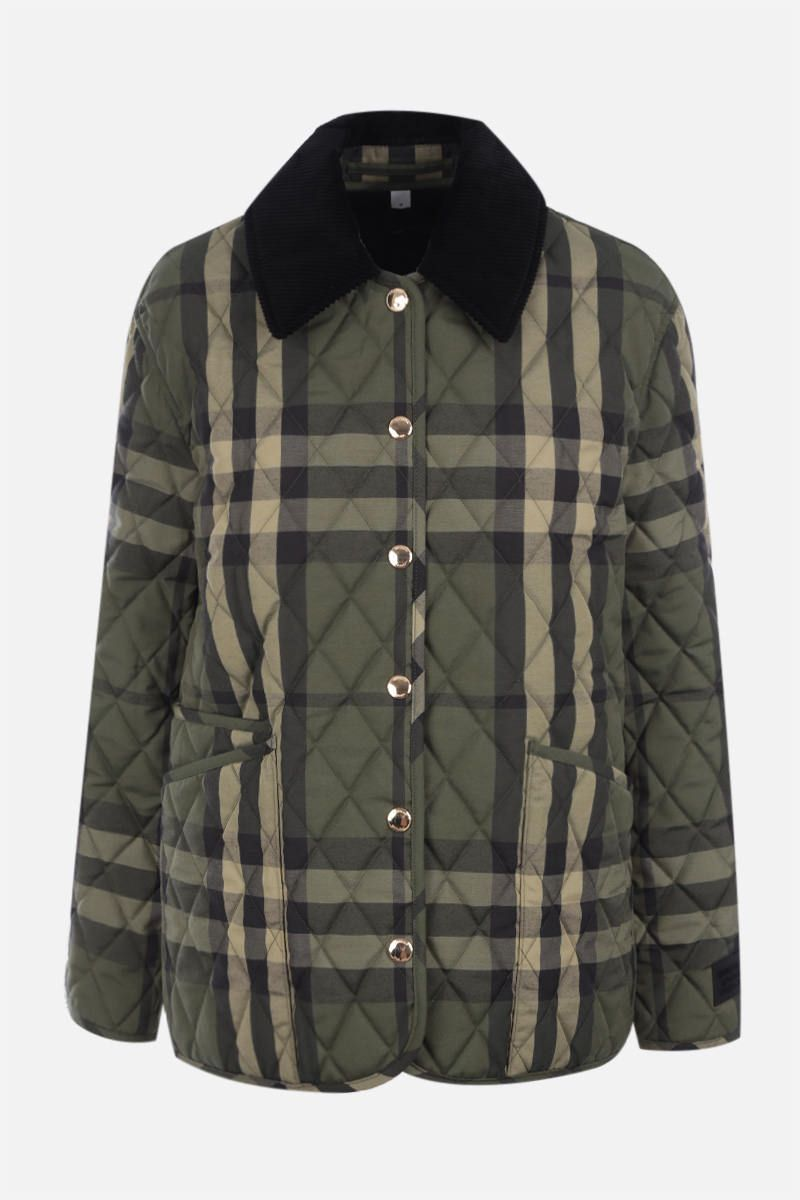 BURBERRY: check wool blend quilted jacket Color Green_1