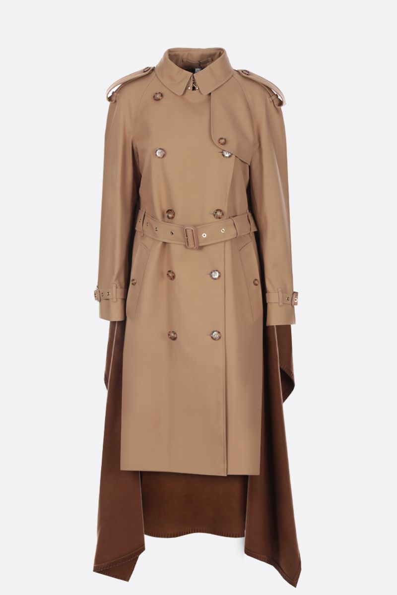 BURBERRY: gabardine double-breasted trench coat with cashmere cape Color Neutral_1