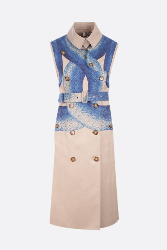 BURBERRY: trench smanicato in cotone stampa Mermaid Tail Colore Blu_1
