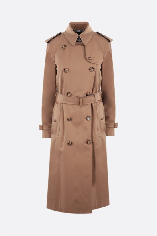 BURBERRY: trench doppiopetto Waterloo in cotone Colore Marrone_1