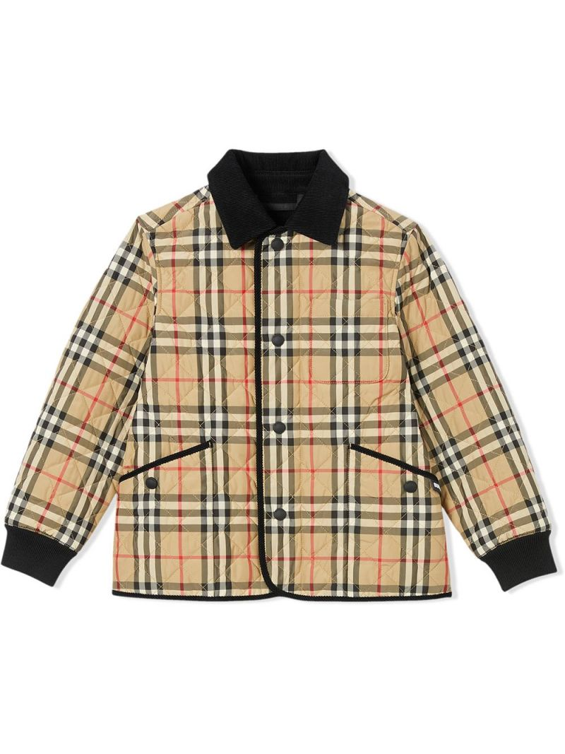 BURBERRY CHILDREN: Vintage check nylon quilted jacket Color Neutral_1