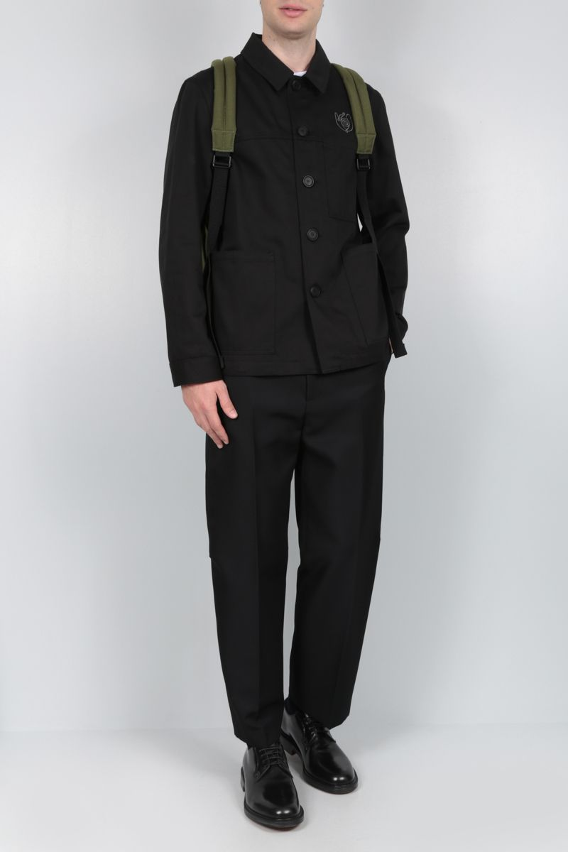 Eye/LOEWE/Nature: Eye/Loewe/Nature embroidered cotton overshirt Color Black_2