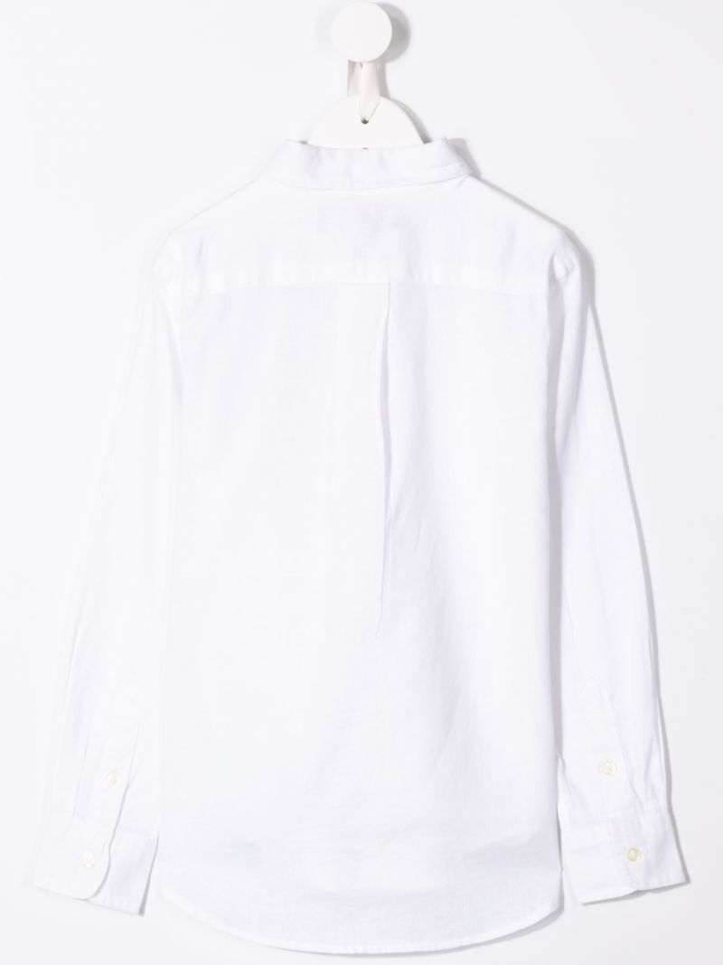 RALPH LAUREN KIDS: logo embroidered linen blend shirt Color White_2