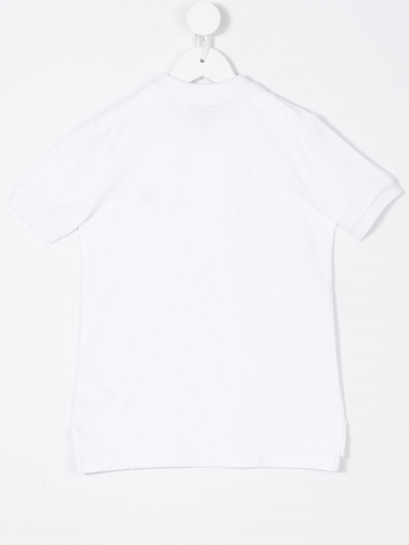 RALPH LAUREN KIDS: logo embroidered piquet polo shirt Color White_2