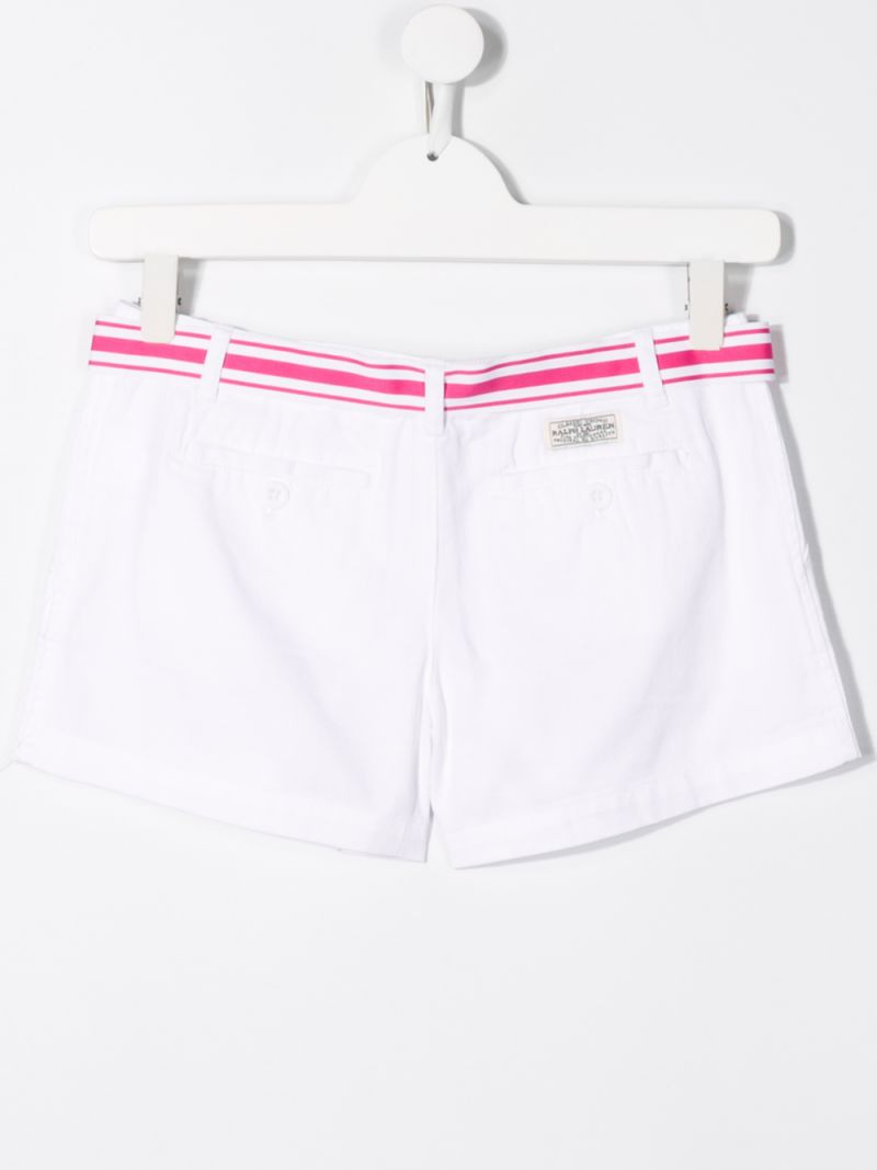 RALPH LAUREN KIDS: cotton twill shorts with contrasting belt Color White_2