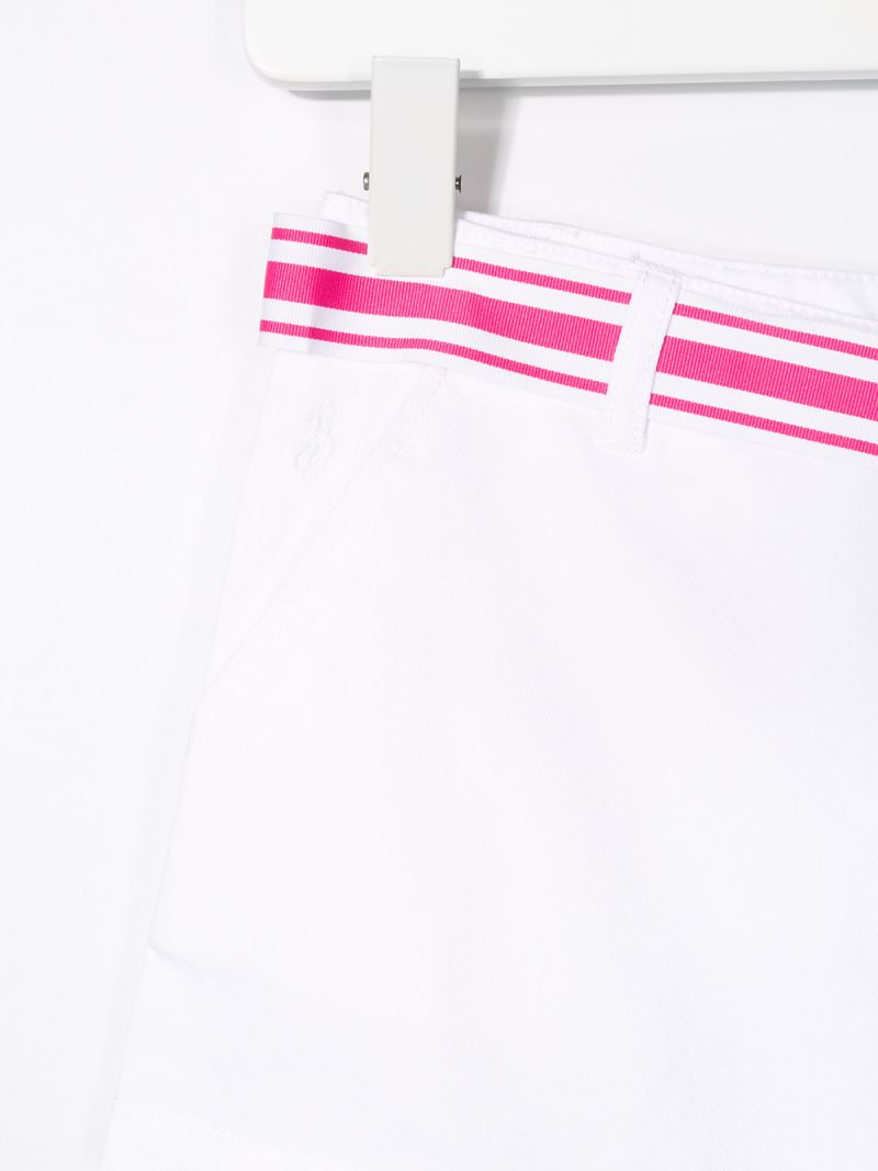 RALPH LAUREN KIDS: cotton twill shorts with contrasting belt Color White_3