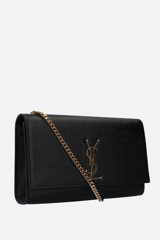 SAINT LAURENT: Kate medium chain bag in Grain de Poudre leather Color Black_2