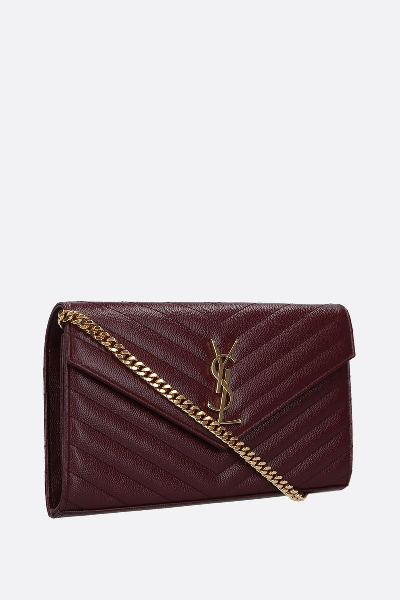 SAINT LAURENT: Monogram quilted leather chain wallet Color Red_2