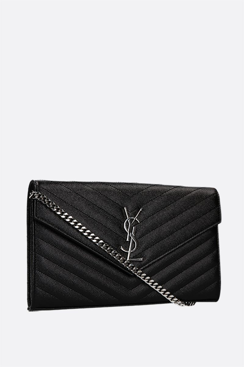 SAINT LAURENT: Monogram quilted leather chain wallet Color Black_2