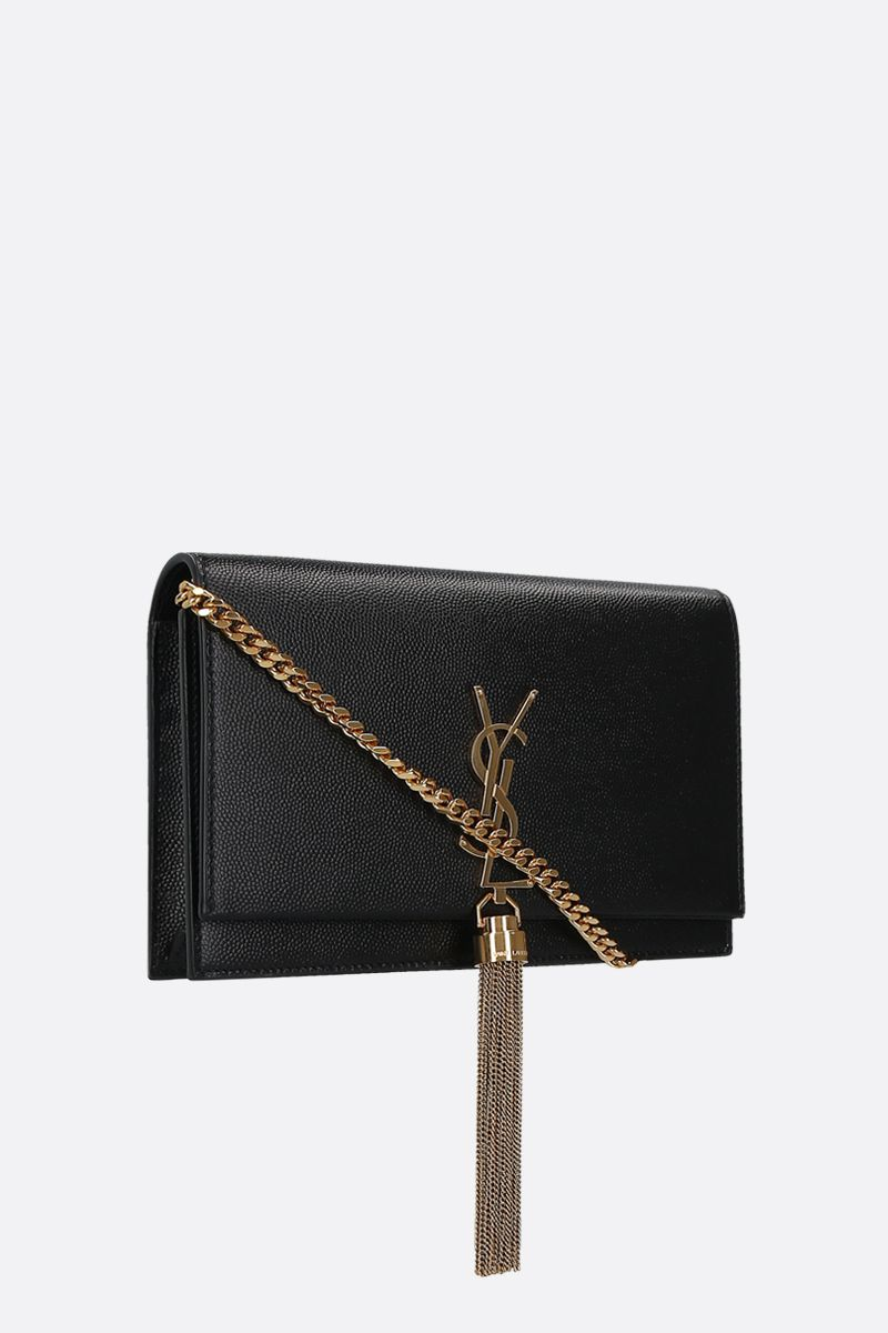SAINT LAURENT: Kate Tassel chain wallet in Grain de Poudre leather Color Black_2