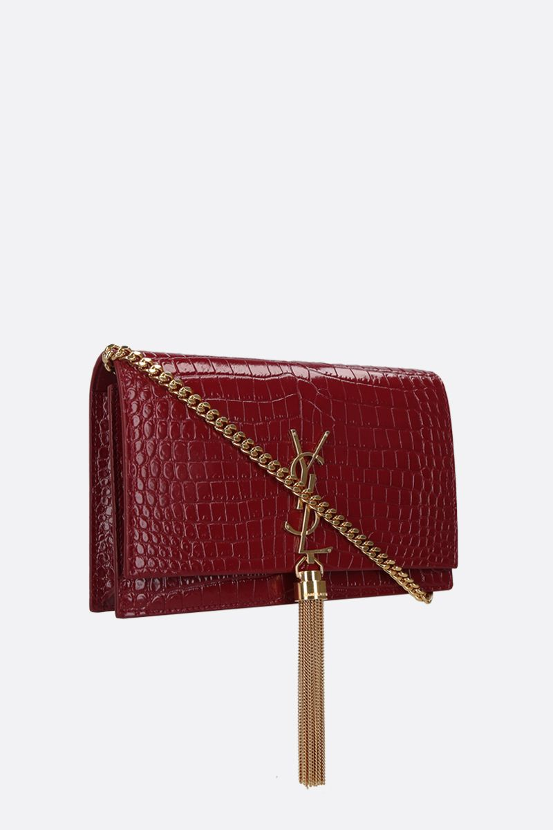 SAINT LAURENT: Kate Tassel crocodile-embossed leather chain wallet_2