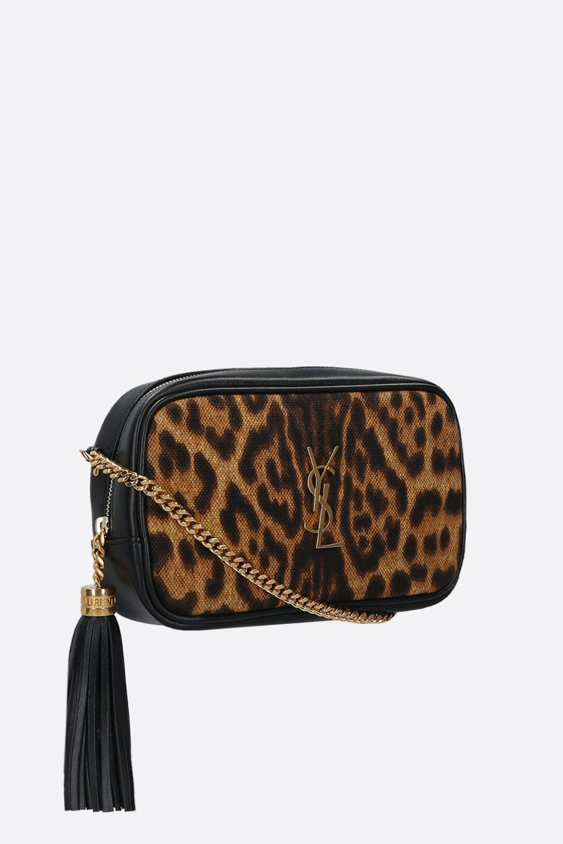 SAINT LAURENT: borsa a tracolla Lou mini in pelle liscia e canvas_2