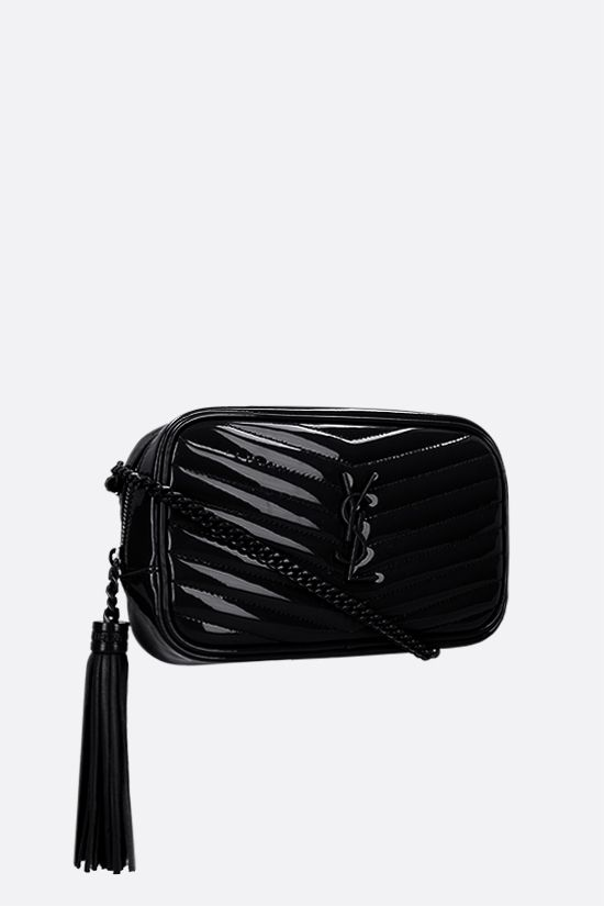 SAINT LAURENT: borsa a tracolla Lou mini in vernice matelassè Colore Nero_2