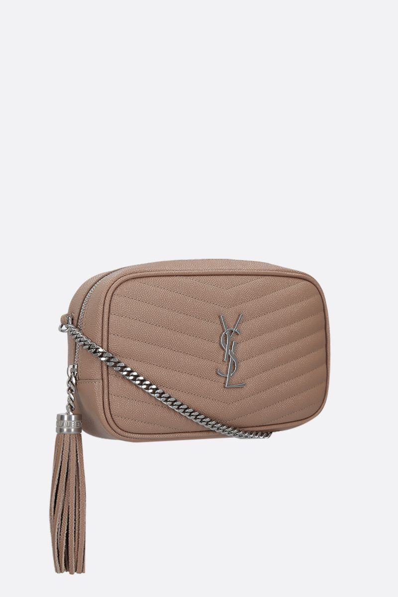 SAINT LAURENT: Lou mini quilted leather crossbody bag Color Gold_2