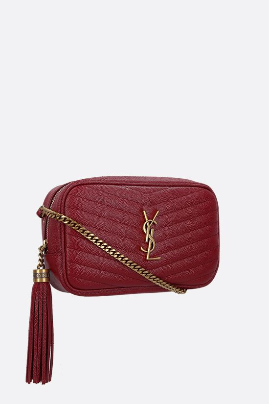 SAINT LAURENT: Lou mini quilted leather crossbody bag Color Red_2