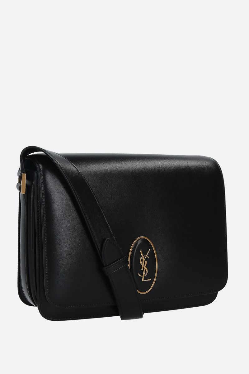 SAINT LAURENT: borsa a tracolla Saddle Le 61 media in pelle liscia Colore Nero_2