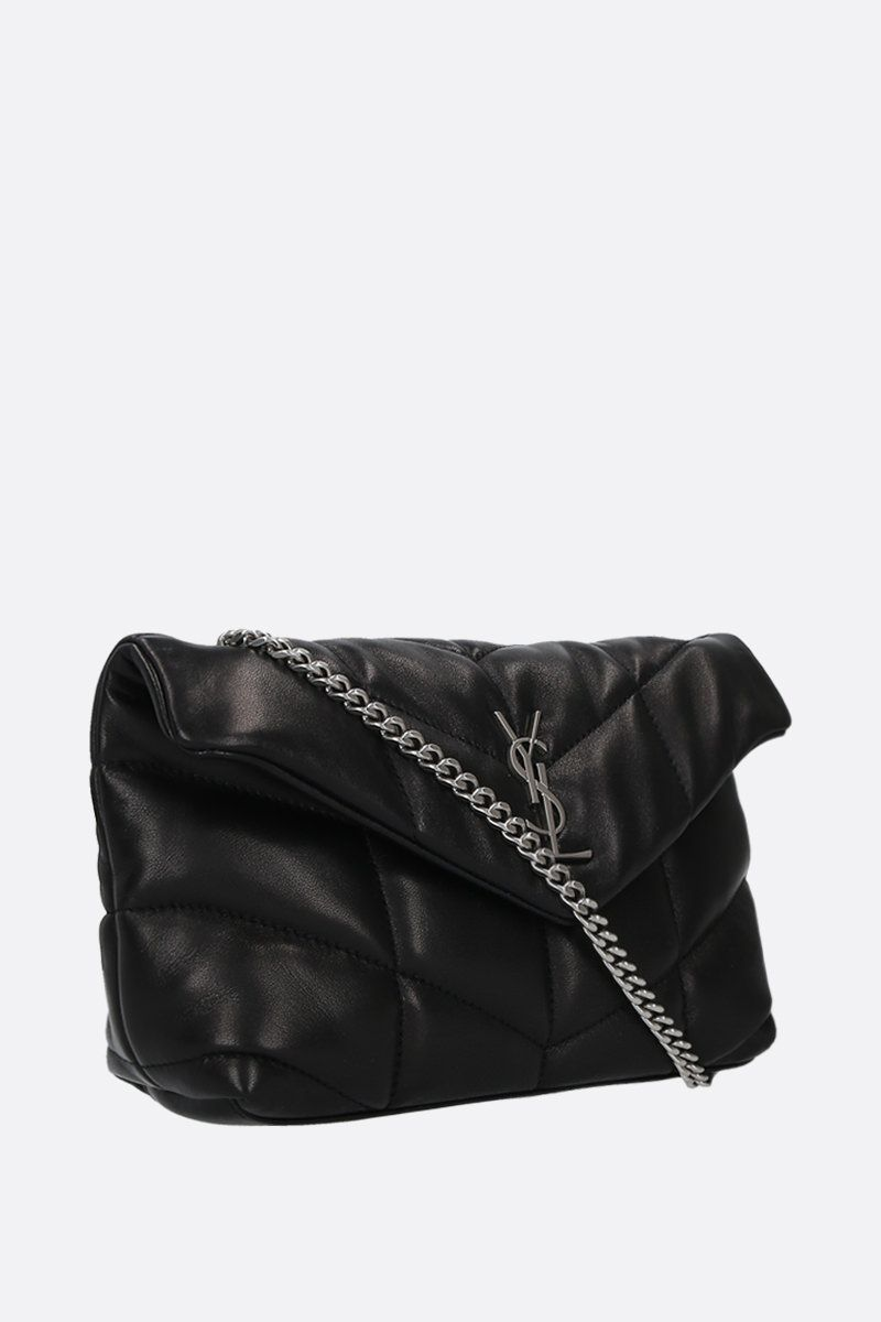 SAINT LAURENT: borsa a tracolla Loulou Puffer mini in nappa matelassè Colore Nero_2