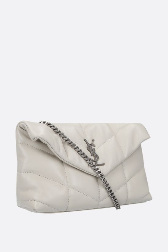 SAINT LAURENT: Loulou Puffer mini quilted nappa shoulder bag Color Neutral_2