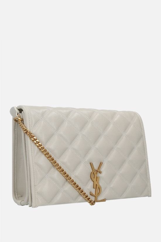 SAINT LAURENT: Becky mini quilted nappa shoulder bag Color Neutral_2