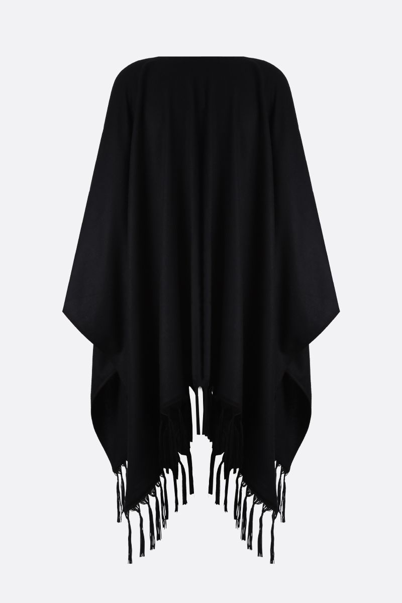 SAINT LAURENT: poncho in cashmere con frange Colore Nero_2