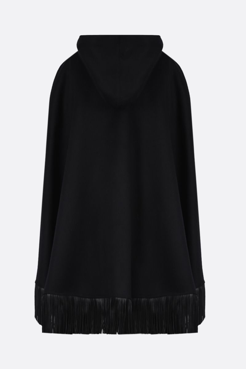 SAINT LAURENT: poncho in misto lana e cashmere con frange Colore Nero_2