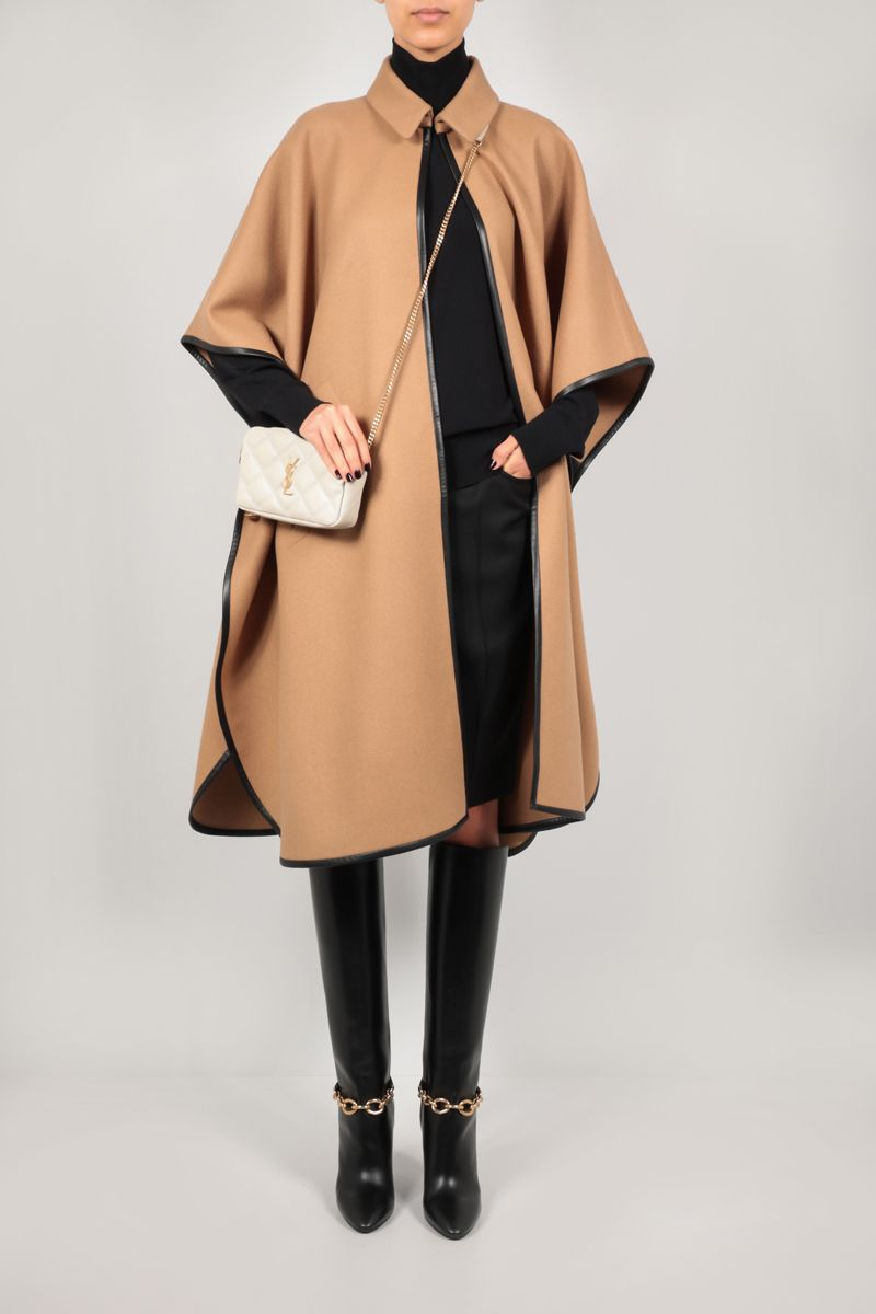 SAINT LAURENT: cashmere cape with leather piping Color Brown_2