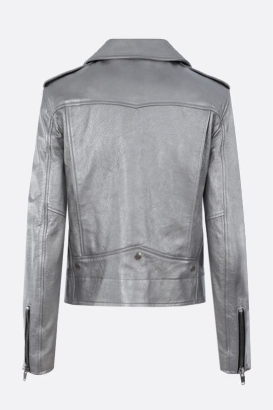 SAINT LAURENT: laminated nappa biker jacket Color Silver_2