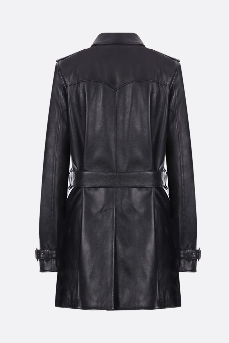 SAINT LAURENT: soft nappa double-breasted trench coat Color Black_2