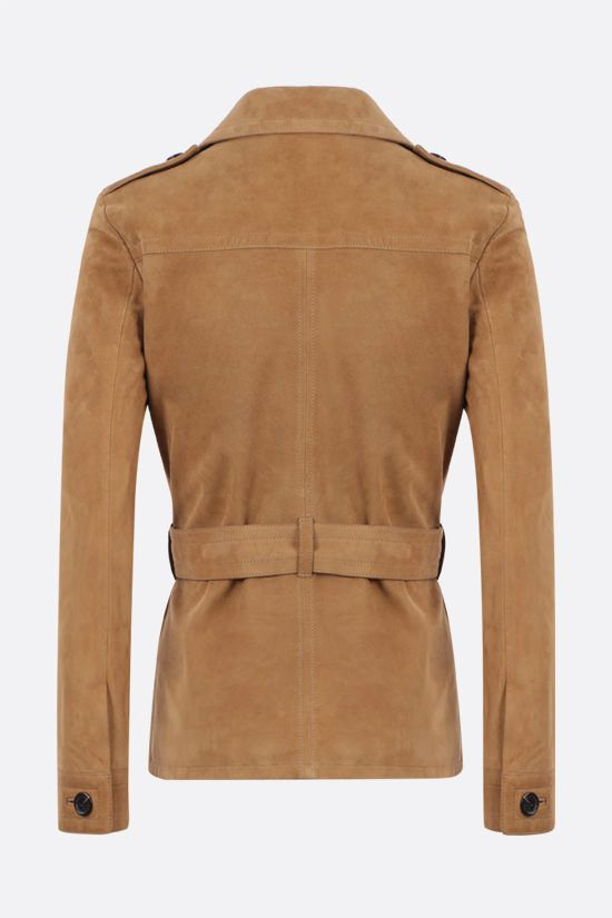 SAINT LAURENT: laced suede leather safari jacket Color Brown_2