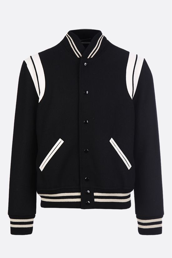 SAINT LAURENT: leather-detailed wool bomber jacket Color Black_1