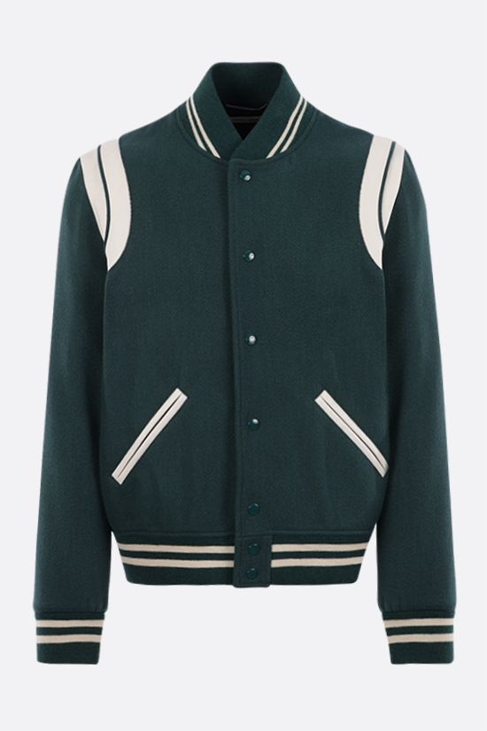 SAINT LAURENT: leather-detailed wool blend bomber jacket Color Green_1