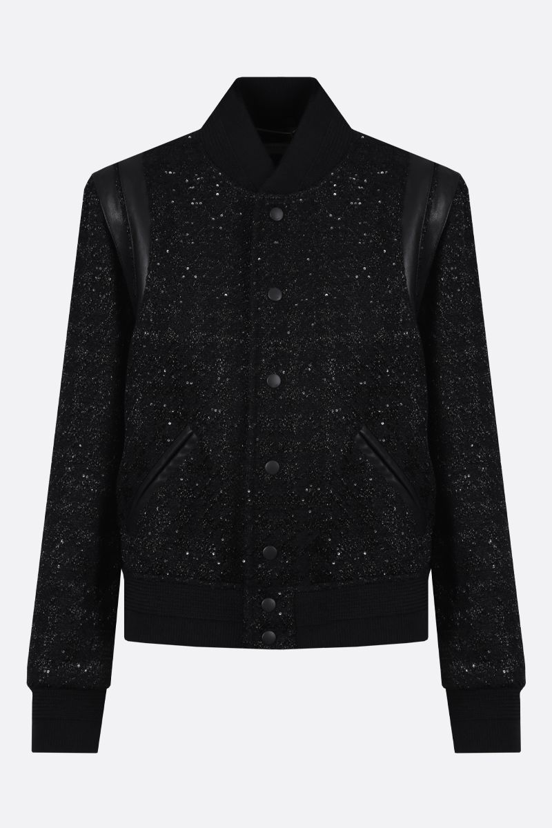 SAINT LAURENT: nappa-detailed tweed bomber jacket Color Black_1