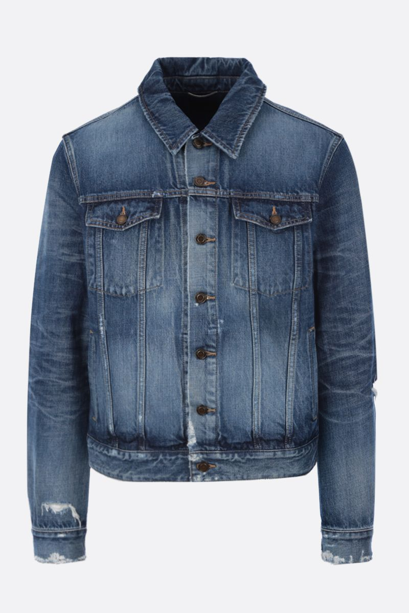 SAINT LAURENT: denim jacket with distressed effect Color Blue_1