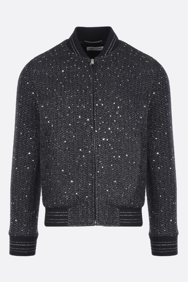 SAINT LAURENT: bomber jacket in sequinned tweed and lurex Color Black_1