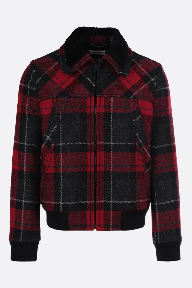 SAINT LAURENT: check wool padded jacket Color Red_1