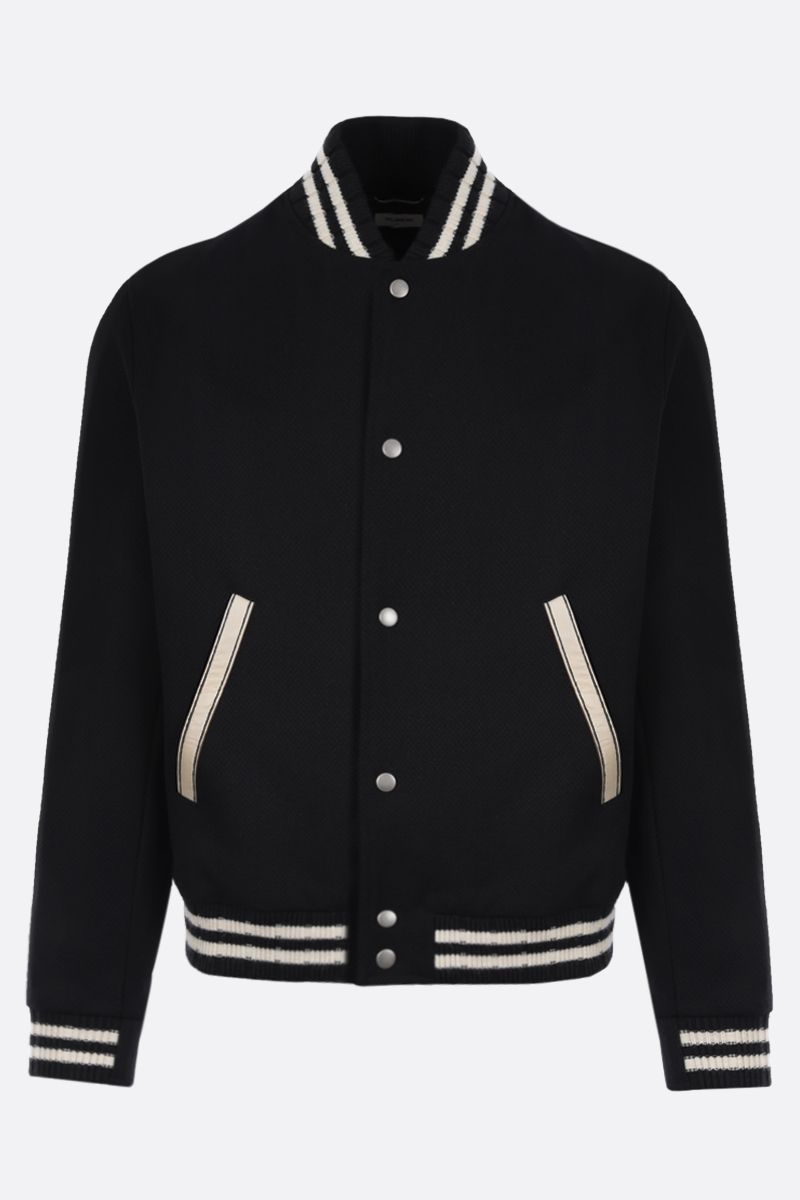 SAINT LAURENT: Saint Laurent patch wool blend bomber jacket Color Black_1