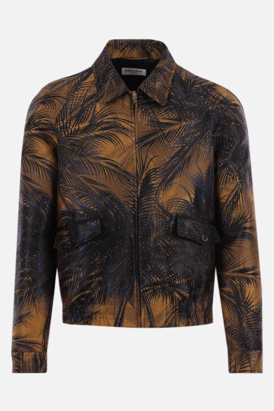 SAINT LAURENT: tropical motif technical jacquard jacket Color Blue_1