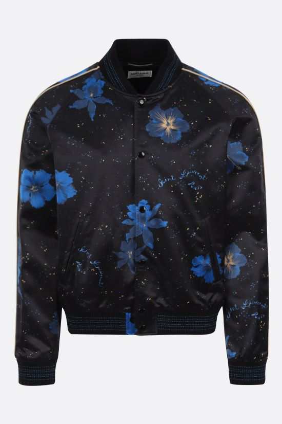SAINT LAURENT: floral print satin padded bomber jacket Color Black_1