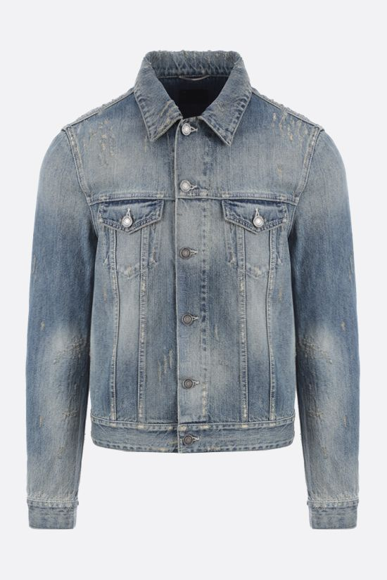 SAINT LAURENT: distressed-effect denim jacket Color Blue_1