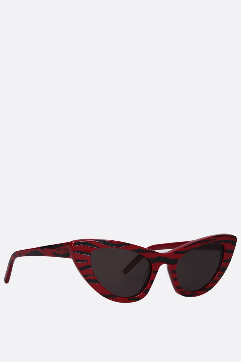 SAINT LAURENT: SL 213 Zebra cat eye sunglasses in acetate Color Red_2