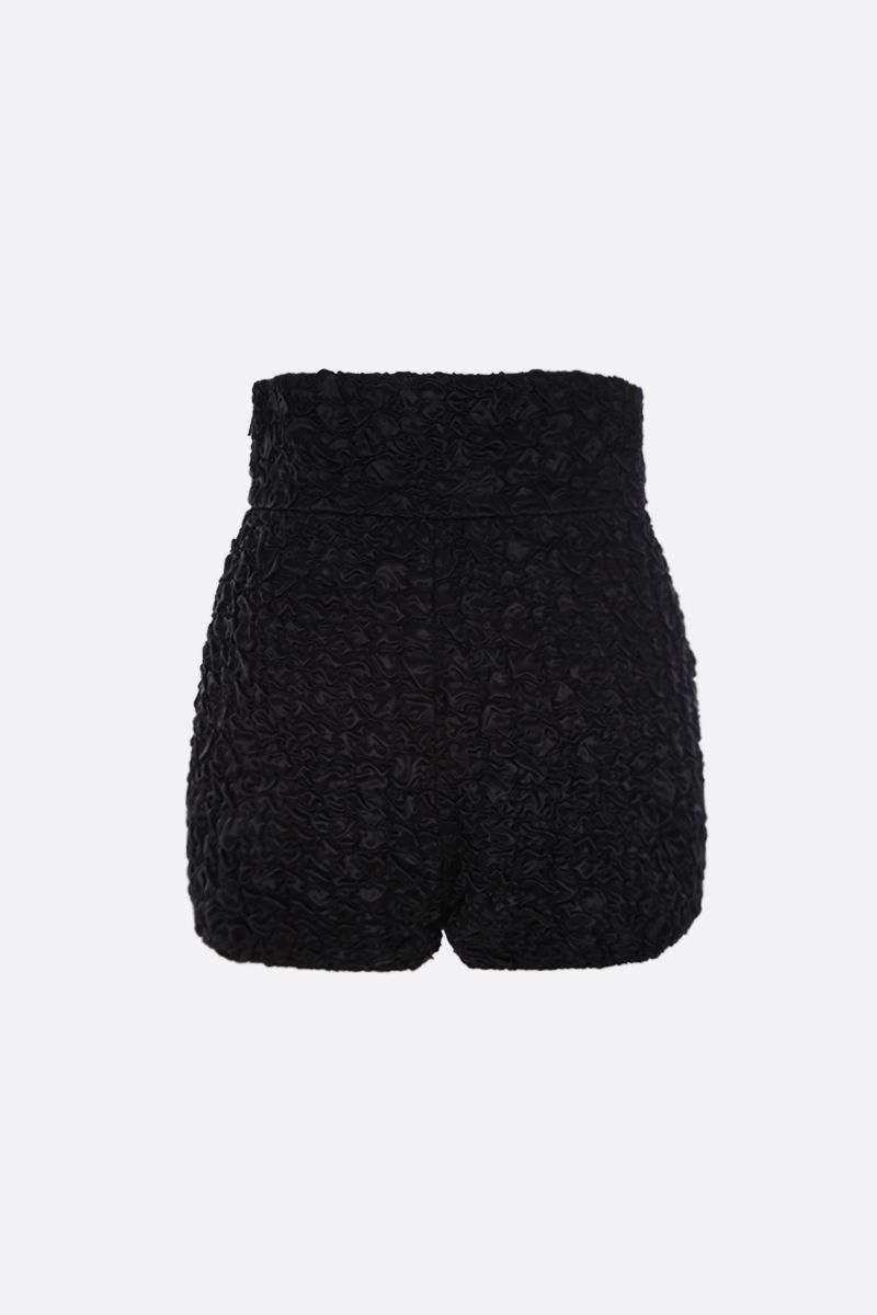 SAINT LAURENT: high-waisted shorts in smocked satin Color Black_2