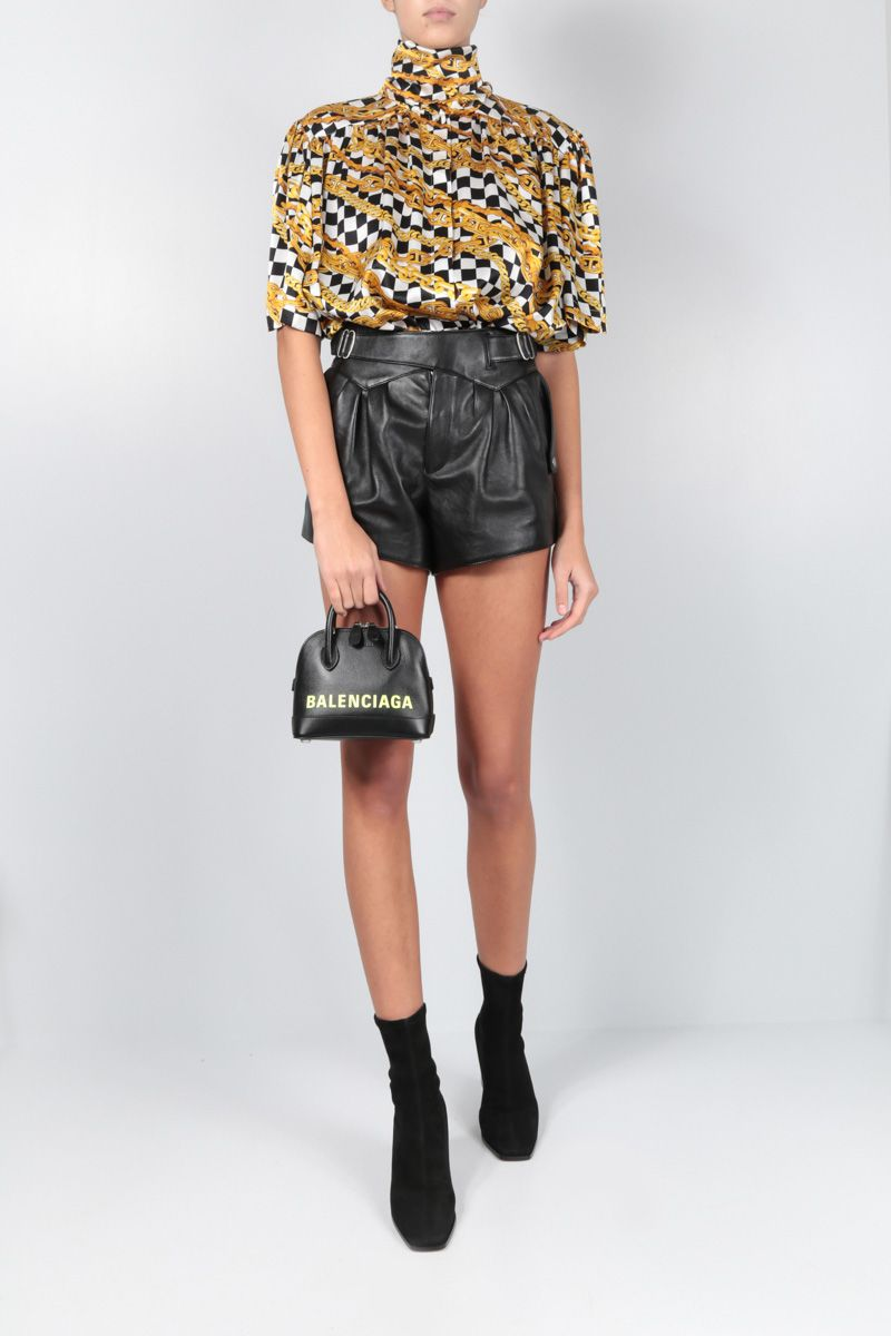 SAINT LAURENT: leather high-waisted shorts Color Black_2