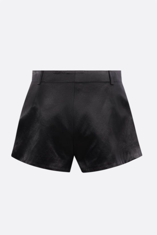 SAINT LAURENT: satin darted shorts Color Black_2