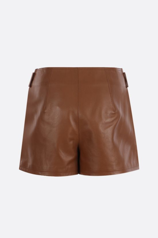 SAINT LAURENT: darted nappa shorts Color Brown_2