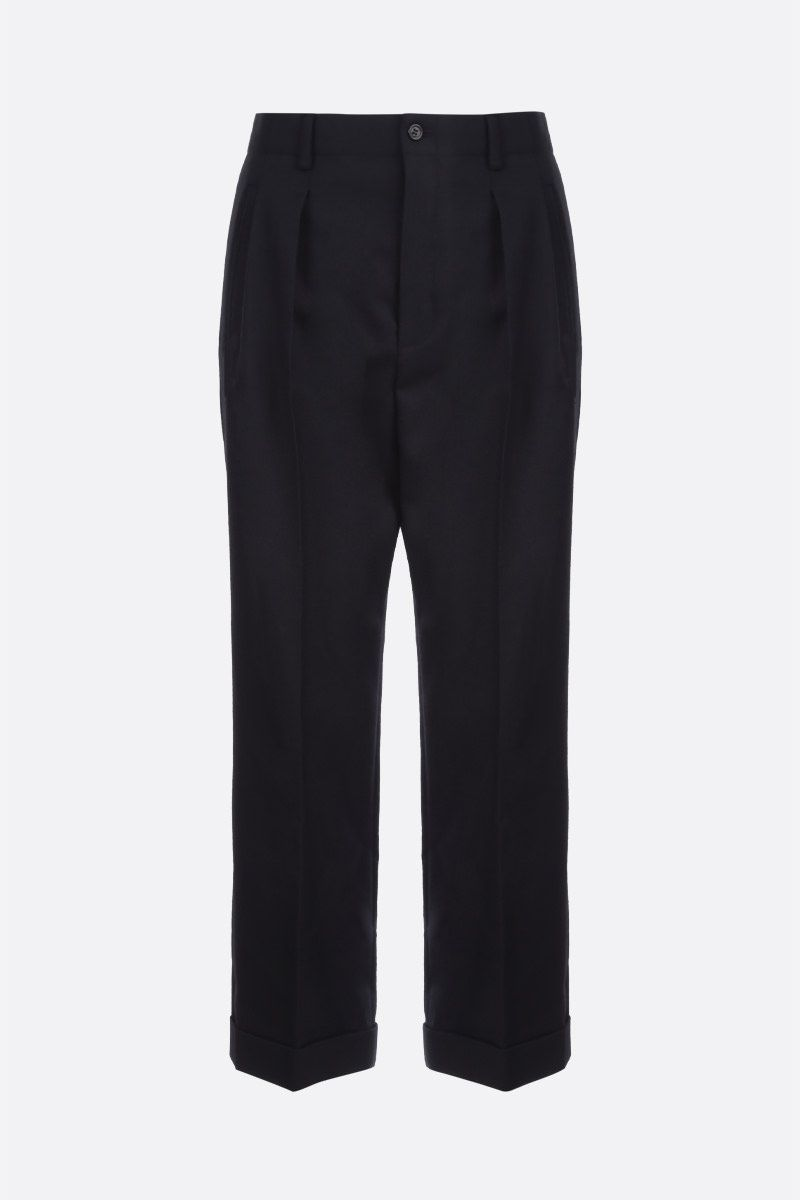 SAINT LAURENT: wool gabardine cropped pants Color Black_1