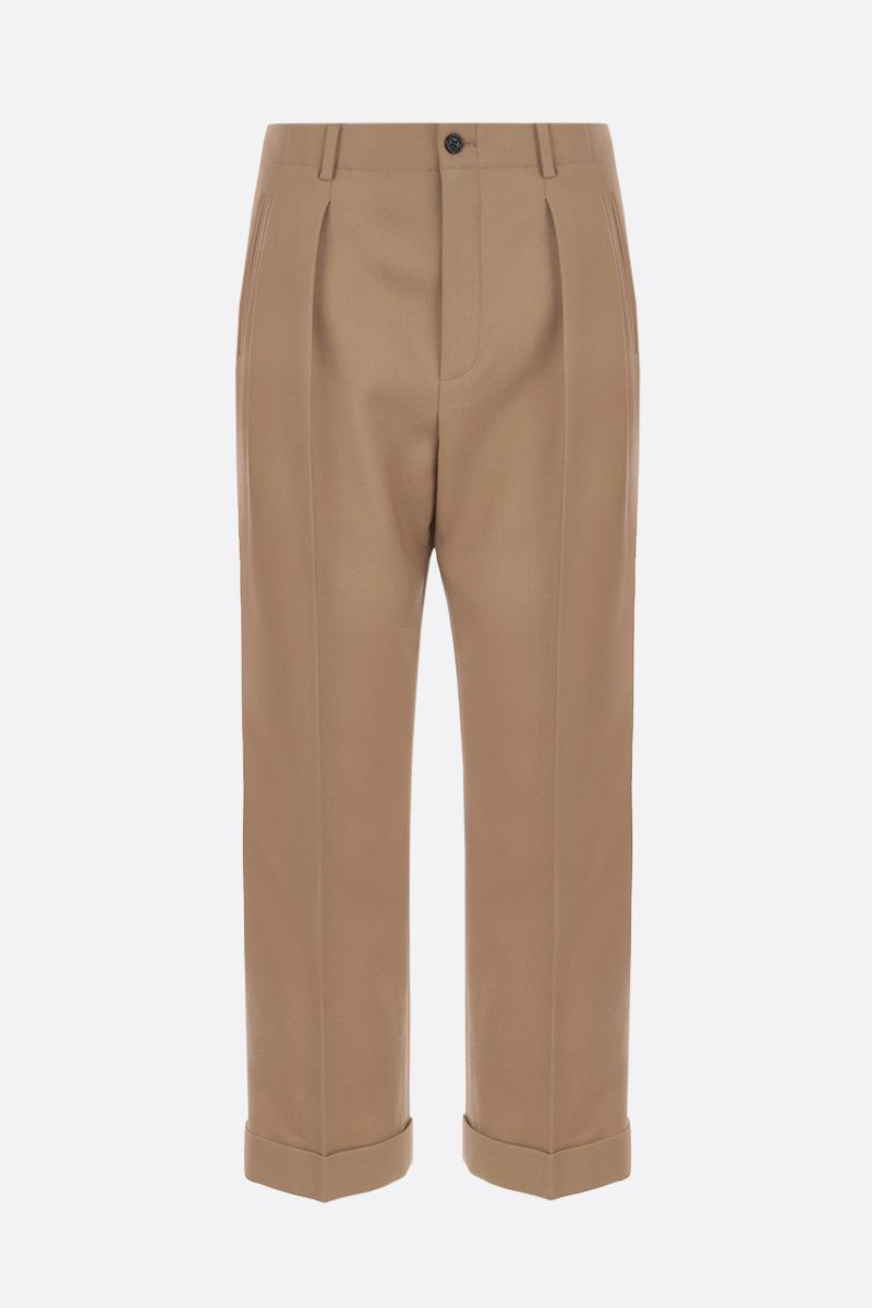 SAINT LAURENT: wool gabardine cropped pants Color Neutral_1