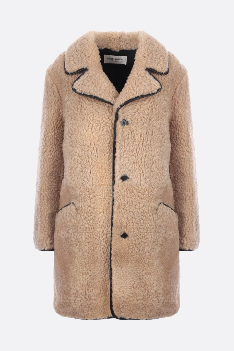 SAINT LAURENT: single-breasted shearling coat Color Neutral_1